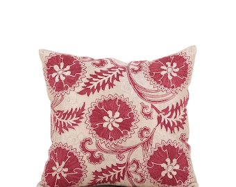 "16"" x 17"" Pillow Cover Suzani Pillow Suzani Pillow Hand Embroidered Pillow Uzbek Suzani Pillow FAST SHIPMENT with ups or fedex - 09618"