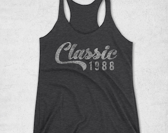 30th Birthday for Her - Classic 1988 Tank Top - 30th Birthday Shirt- Gift Ideas - Vintage 1988 Racerback Tank -30th birthday gifts for women