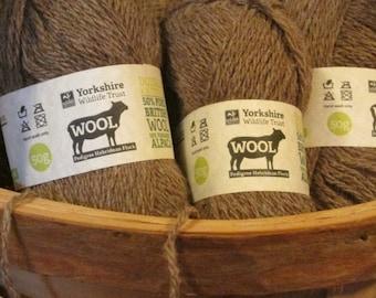 Charollais and Alpaca DK Knitting Wool - Coffee Brown - 50g - Yorkshire Wildlife Trust - Knitting Yarn