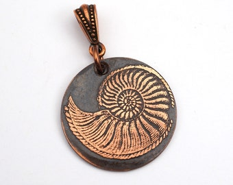 Copper nautilus pendant, small round flat etched antiqued metal copper spiraling shell, optional necklace, 25mm