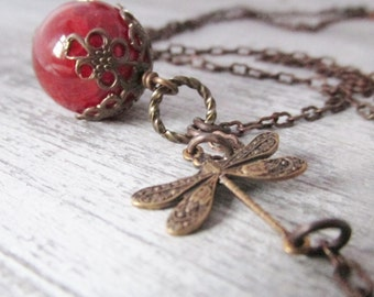 Dragonfly Necklace, Orange Fire Agate Stone Necklace, Orange Beaded Necklace