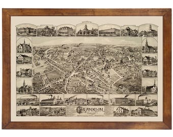 Franklin, MA 1888 Bird's Eye View; 24x36 Print from a Vintage Lithograph
