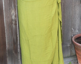 Light olive green color-Pareo-solid color-full and half sized-rayon- sarong-fringeless, Tahitian costume skirt, Tahitian pareo