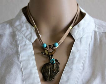 Bronze Leaf Pendant - Turquoise Beads - Tan Suede Cord Necklace - Beaded Necklace - Boho Necklace - Suede Necklace