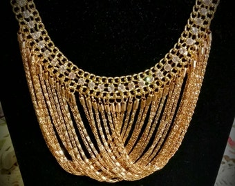 After Life Accessories Handmade Gold Rhinestone Chain bib  necklace