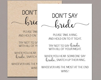 Dont say Bride, bridal shower ring game, bridal shower games printable, Rustic Bridal Shower Game, Kraft Country bridal shower game card B11