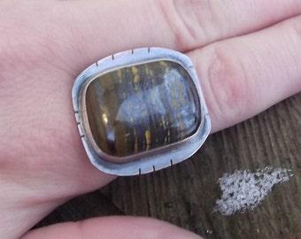 Tiger Iron Ring - Mixed Metal Ring
