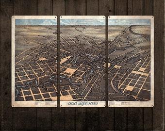 Vintage Map of San Antonio METAL Triptych 36x24 FREE SHIPPING