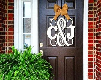 Custom UNFINISHED monogram ampersand door hanger /burlap bow/ NEUTRAL/Block and Script 24 inch wreath/Initial/wooden/wedding gift/front door
