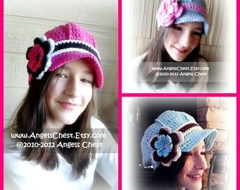 Newsboy Beanie with Visor - Brimmed Hat and Detachable Flower SIZES 5T to Adult - PDF Crochet Pattern No. 41 by AngelsChest