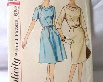 Simplicity 4724 Sewing Pattern, Half Size Slenderette Dress 1960s Uncut, Size 16, Bust 37, (B-2)