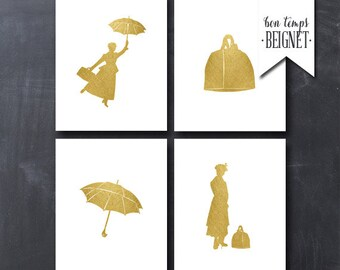 "Mary Poppins- Printable Art - Faux Gold Foil Wall Art -  Set of Four 8x10"" - INSTANT DOWNLOAD"