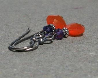 Orange Carnelian Earrings Purple Amethyst Oxidized Sterling Silver Earrings Geometric Jewelry