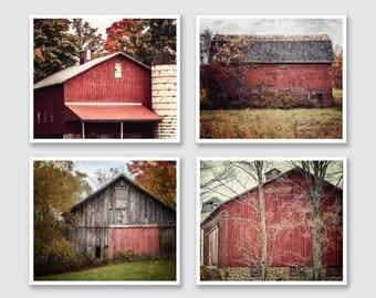 Farmhouse Decor, Rustic Red Barn Large Print or Canvas of 4, Farmhouse Art, Red Wall Art, Red Decor, Farm Print, Barn Print.