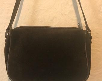 Vintage Handbag- Vintage Brown Suede Leather Cross Body Bag