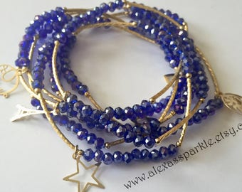 Shimmer royal blue bracelets with gold plated charms - Semanario color azul rey tornasol con dijes de chapa de oro