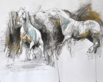 Horses Hierarchy, Original Charcoal Drawing of two Horses, Contemporary Original Fine Art, Animals