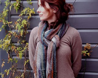 Hand Woven Striped Scarf in Lambs Wool, Kid Mohair and Silk - muted Autumn shades