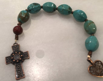 Turquoise Anglican Chaplet     Episcopal Prayer Beads    Protestant Prayer Beads Pocket Rosary  Something Blue Chaplet