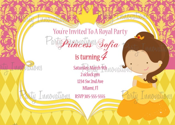 Printable princess belle birthday party invitation plus free printable princess belle birthday party invitation plus free blank matching printable thank you card filmwisefo Images
