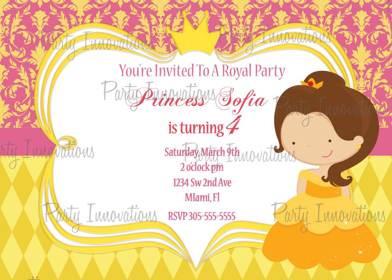 Printable Princess Belle Birthday Party Invitation plus FREE