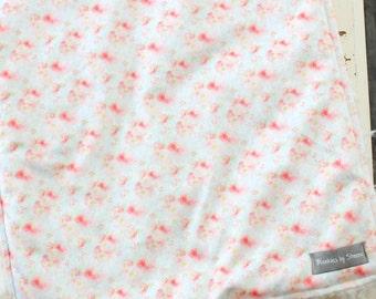 Tiny Flower Blanket - Floral Blanket - Swaddling Blanket - Toddler Blanket - Fur Blanket - Watercolor Blanket - Stroller Blanket