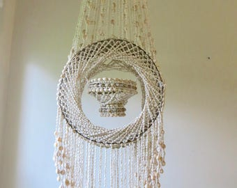 Vintage Seashell Chandelier Plant Hanger - Macrame Shell Planter - Beach Coastal Decor - Boho