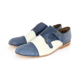 Monk Vagabundo Shoes in Blue and Beige