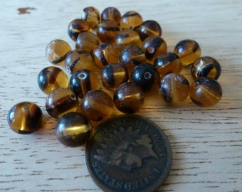 24 Vintage Czech Tortoise Glass Beads C35