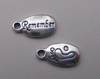"Silver ""Remember"" saying Charms"