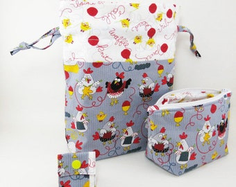 """Knitting Project Bag - New! 2 Piece Set """"Knitting Chickens"""" Drawstring Project Bag & Zippered Notions Pouch (V)"""