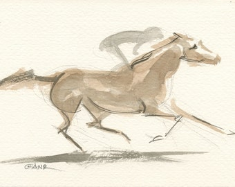 """Race Horse Art, Derby Galloping Racehorse, Original Watercolor Painting by Anna Noelle Rockwell-""""Gathering Force"""""""