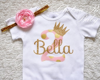 Pink And Gold Birthday Shirt Personalized Outfit Baby First