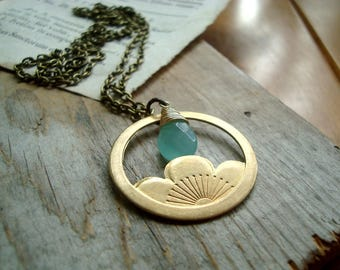 Brass Lotus Necklace With Aqua Glass Long Layering Necklace March Birthstone Brass Jewelry Art Nouveau Style Gemstone Jewelry