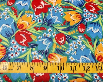 Moda Fairytale Friends American Jane Blue Tulips Red and Yellow 21603 14 Cotton Fabric By the Yard