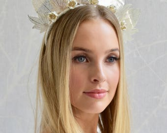 Bridal silver metal leaf fascinator headpiece headband