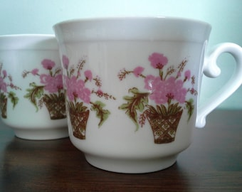 Pair of Bareuther Waldsassen Tea Cups with Pink Flowers in Baskets