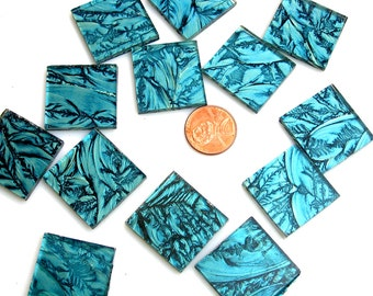 Blue Green Mosaic Tile Hand Cut From Van Gogh Glass, Choose From 3 Shapes & 12 Different Sizes, Perfect for Mosaic Art and Crafts