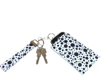 Fabric Phone Case, Phone Sleeve, Padded  Phone or iPod  Pouch, Polka Dot Keychain  Wristlet Purse, Gift for Teens or Women