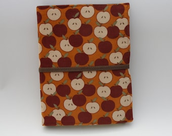 Notepad Organizer - Orange Corduroy Apple Fabric (Notepad Included)