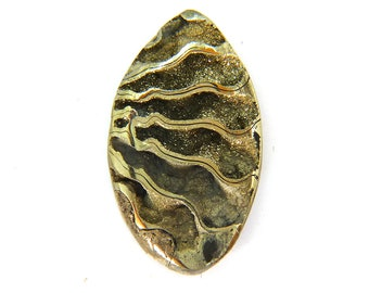 Fossil Ammonite with Nautral Pyrite Druzy Designer Cabochon Gemstone 28.8x49.5x8.0 mm 77.0 carats Free Shipping