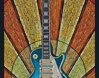 Branson, Missouri - Mosaic Guitar (Art Prints available in multiple sizes)