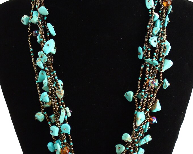 Hand beaded genuine turquoise bronze multistrand necklace, magnetic clasp, 24 inches #131