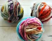 Handspun, Handdyed Yarn, Mystery, Thick n Thin, Bulky, Thick, Wool, Rainbow, Knitting, Yospun, Weaving, Crochet, Novelty, art yarn