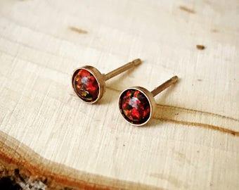 Tiny Black Opal Stud Earrings // 3mm 4mm // Sterling Silver 14k Gold fill Studs // October birthstone // Minimalist earrings