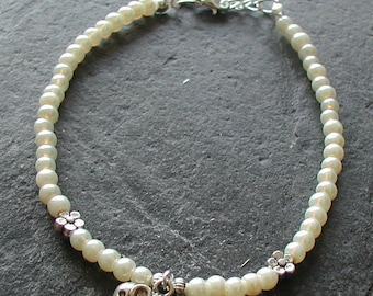 Ivory Pearl Glass Beads Elephant Charm Anklet Ankle Bracelet