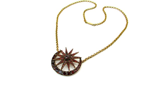 Bohemian Garnet Pendant Necklace Victorian Star & Crescent Moon Brooch Conversion Jewelry Gold Filled Cable Rolo Chain Antique Gemstone