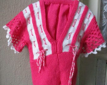 Hand Knitted Jumper and  Skirt - Cerise Pink Coloured (for age 3 - 4  Years )