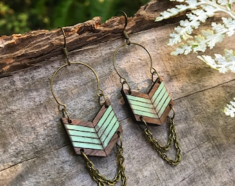 Wooden Earrings - Distressed Chevron