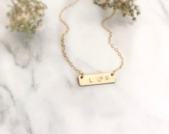 Initial Necklace, Bar Necklace, Gold Bar Necklace, Letter Necklace, Bar Necklace Gold, Personalized Necklace, Custom Necklace